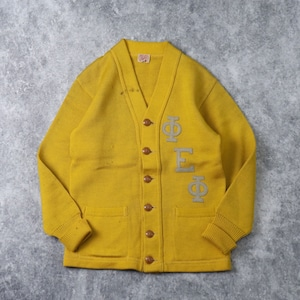 50s  Vintage  Lettered  Cardigan     50年代 ヴィンテージ レタードカーディガン 古着 イエロー A561