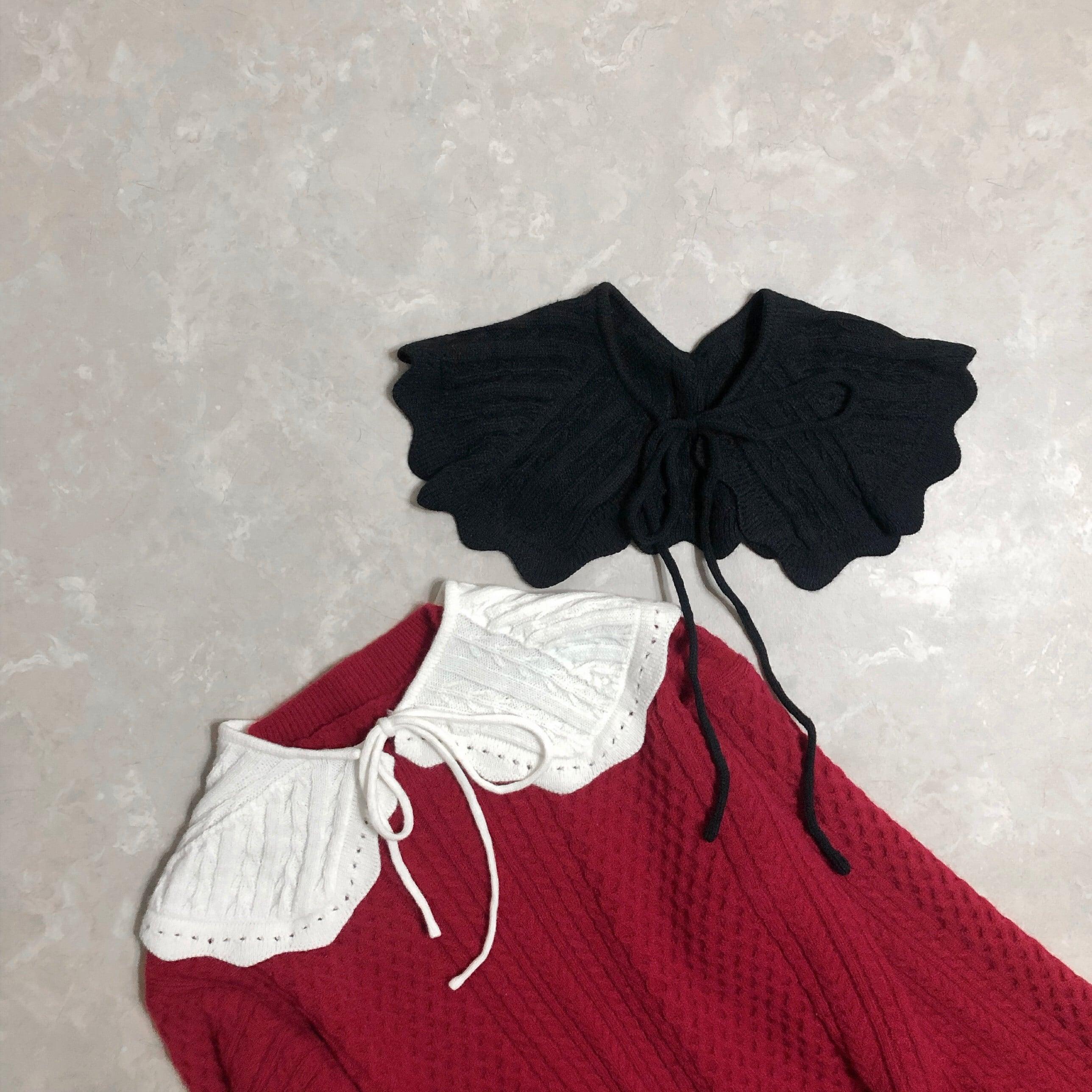 【即納】ニット付け襟-2color-