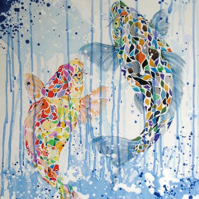 絵画 絵 ピクチャー 縁起画 モダン シェアハウス アートパネル アート art 14cm×14cm 一人暮らし 送料無料 インテリア 雑貨 壁掛け 置物 おしゃれ ロココロ 現代アート 鯉 コイ こい 魚 和 和アート 鯉のぼり 画家 : nob 作品 : 登龍門