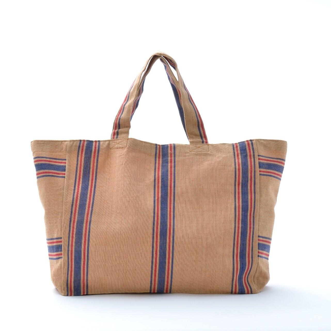 手織りビーチバック 茶×青L(新入荷)