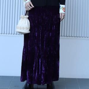 90年代 ベロア ティアード マキシスカート アメリカ古着 日本M
