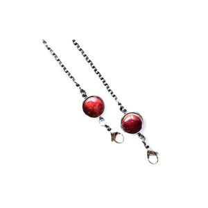 赤透釉薬 マスクチェーン(メガネチェーン用の金具付き)