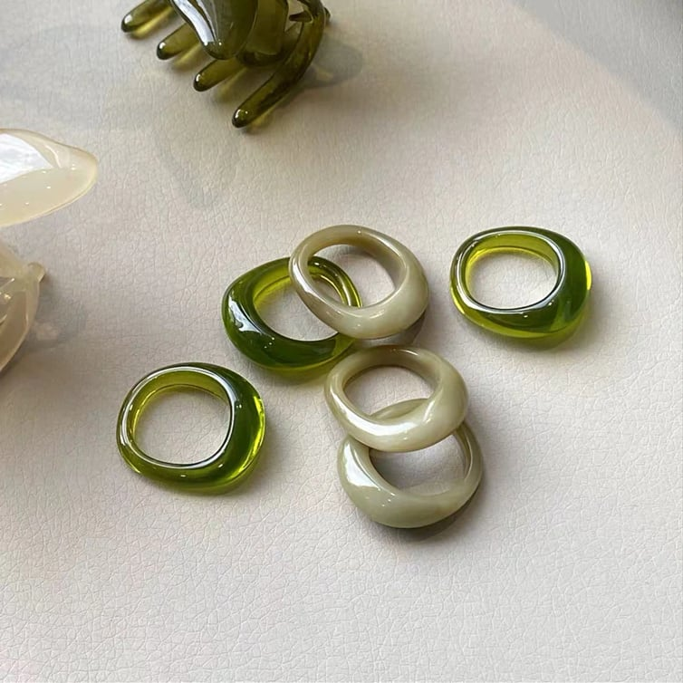 Matcha latte & clear green RING
