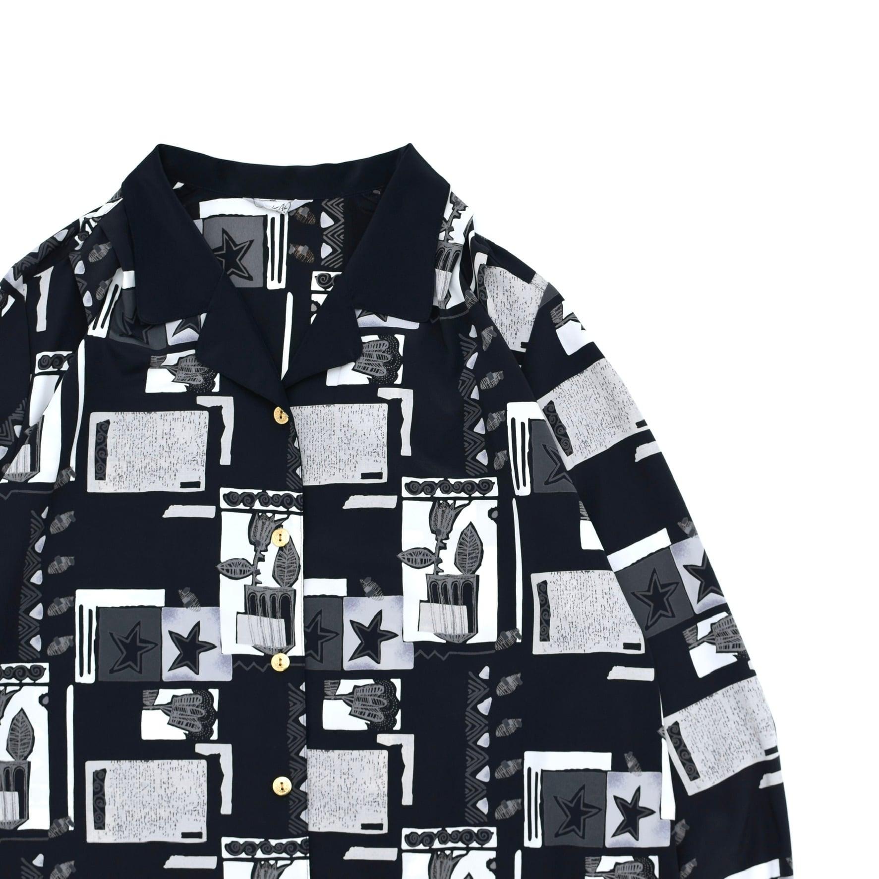 Unisex Monotone open collar design shirt