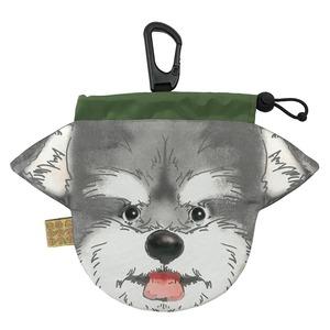 犬のウンチバッグ M【シュナウザー】(灰色 x 白色) 防臭生地 / デオドラント加工布使用