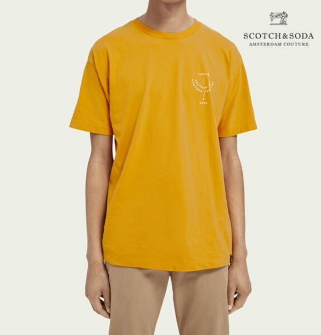 スコッチ&ソーダ SCOTCH&SODA 半袖 Tシャツ クルーネック オーガニックコットン プリント Tシャツ Rust 292-34407