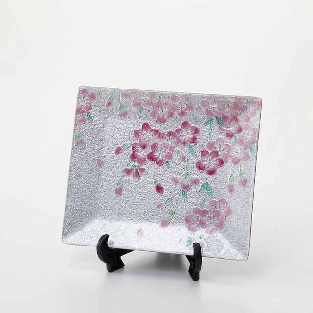 京七宝絵皿「小花桜」