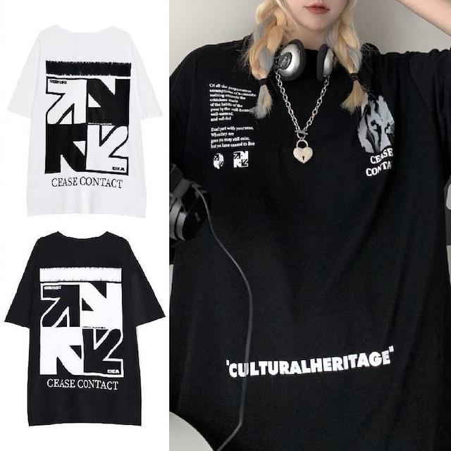 ユニセックス Tシャツ 半袖 プリント ラウンドネック オーバーサイズ ホワイト ブラック 韓国ファッション メンズ レディース 大きめ カジュアル ストリートファッション TBN-641271258974