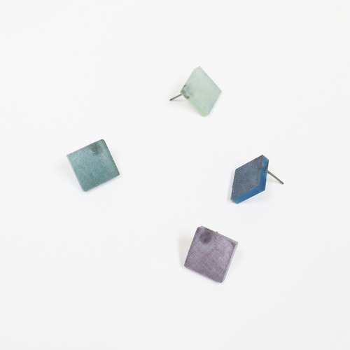 藍染/泥染/幾何学片耳用ピアスイヤリング/E-6_S_AI