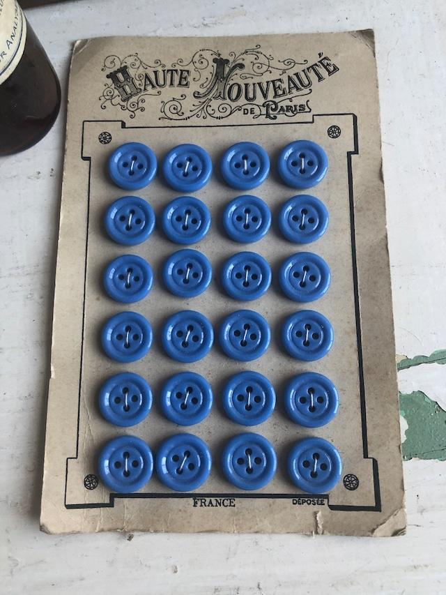 フランス古いボタンシート スカイブルーブルーボタンL