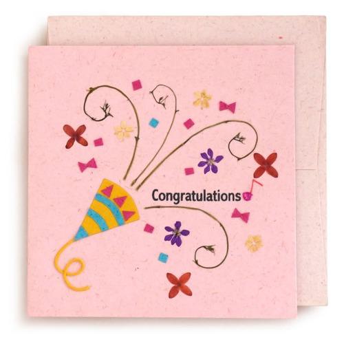 手漉き紙 お祝いカード (ピンク)【フェアトレード】