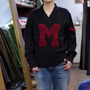 """1940s YORK ARMS CO. Lettered Sweater """"BLACK"""" / ヴィンテージ レタード セーター ブラック"""