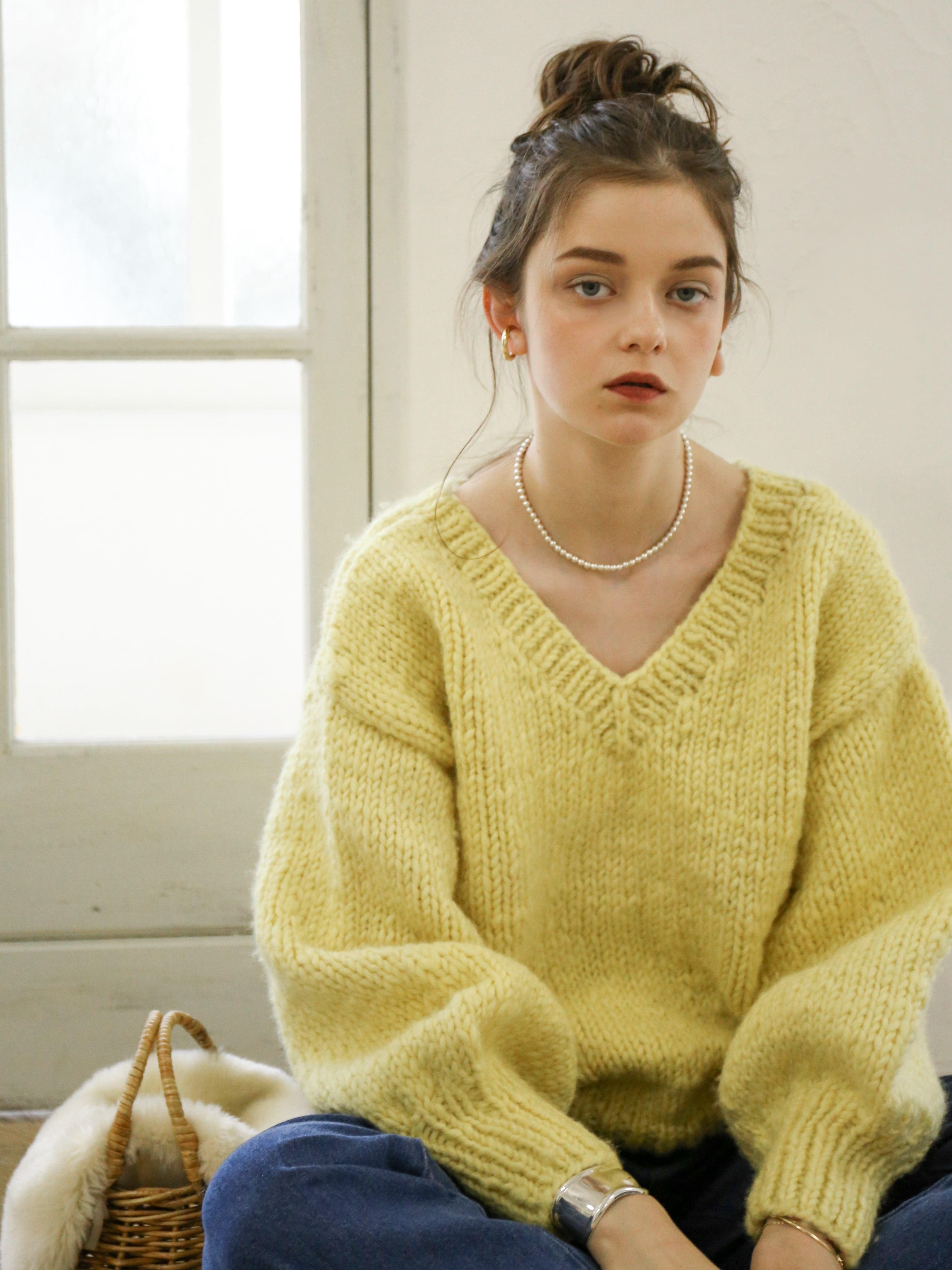 2way handmade knit(lemon)