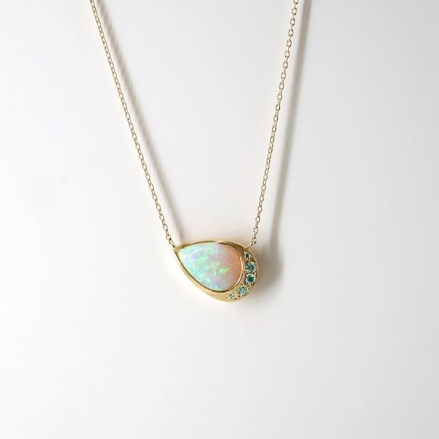 Halo Pearshape Opal Necklace