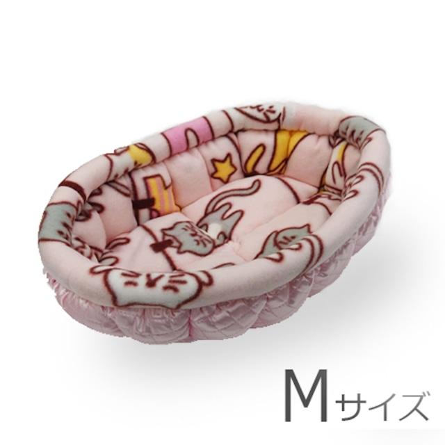 ふーじこちゃんママ手作り ぽんぽんベッド(サテンピンク ライトピンク)Mサイズ【PB3-136M】