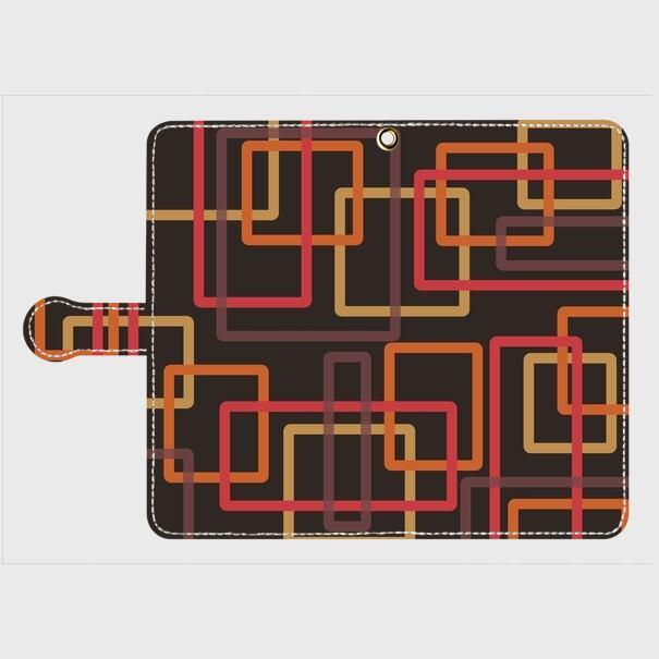 レトロパターン四角(黒・橙・薄橙・赤) / Androidスマホケース(手帳型ケース)