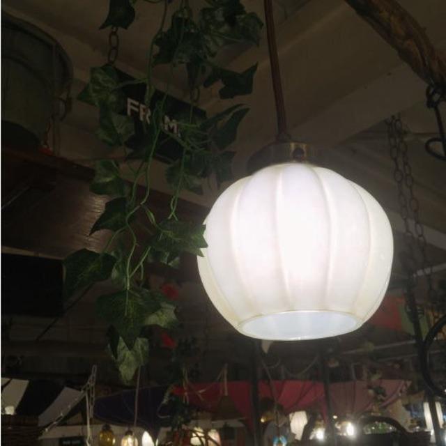 ガラスシェードペンダントランプ パンプキン/ホワイト