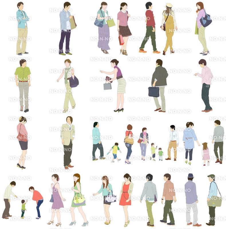 人物イラストSketchUp素材 4up_color01_20_4 - 画像4