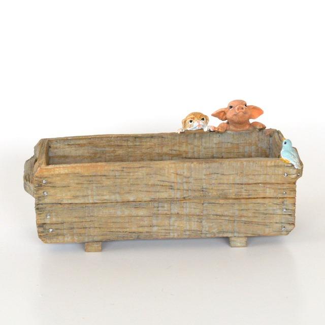 プランターをのぞくぶたさん 82755 ぶた ブタ ミニチュア 動物 かわいい 置き物 ギフト 飾り オブジェ