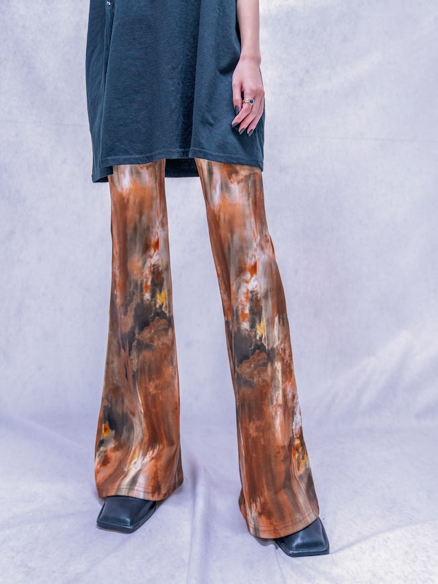 【WOMENS - 1 size】TIEDYE STRETCH FLARE PANT / Brown