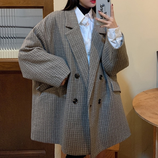 【アウター】インスタグラム超人気 ファッション カジュアル チェック柄 合わせやすい 長袖 シングルブレスト スーツジャケット40364393