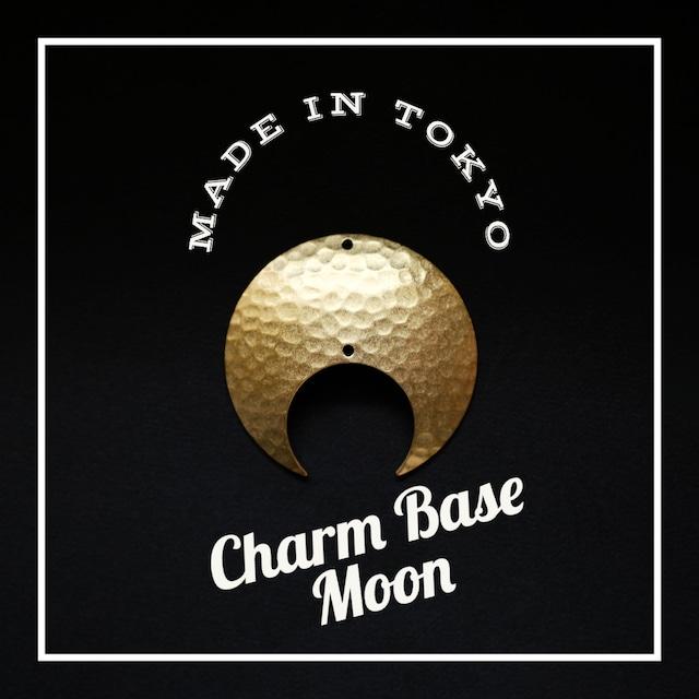 【1個】チャーム・ベース 三日月A(2穴)槌目模様(日本製、真鍮、無垢)