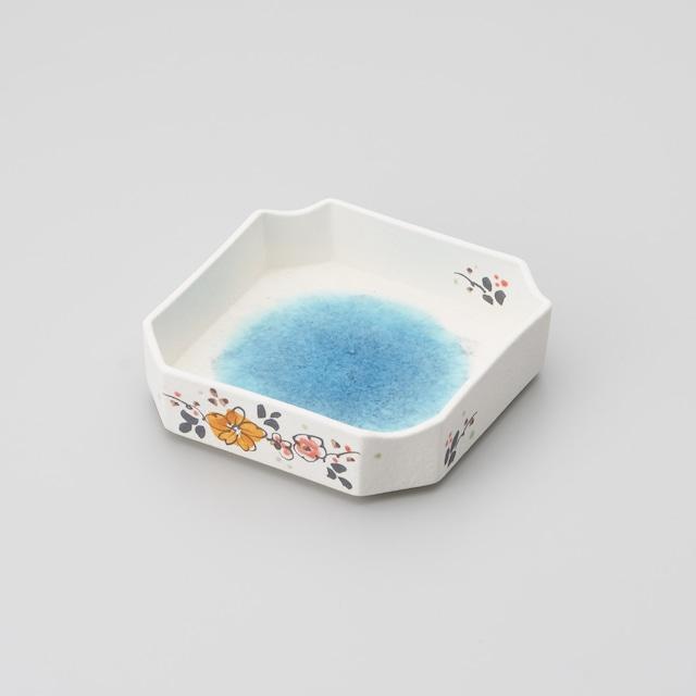 【古千窯】ブルーの釉薬溜外花絵四方切鉢(強化磁器)
