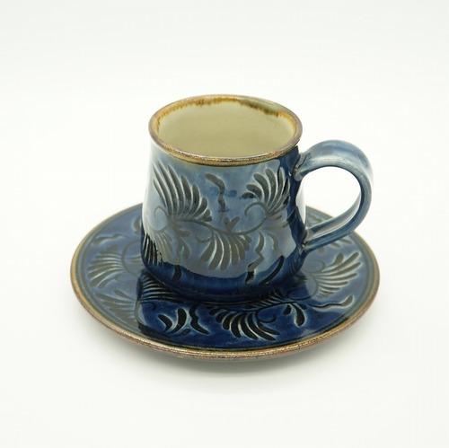 カップ&ソーサー 藍彩線彫り【石倉陶器所】