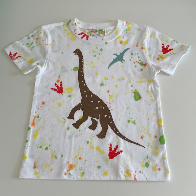 kidsTシャツ120cm「 足跡シリーズ ブラキオサウルスとプテラノドン」120-211013