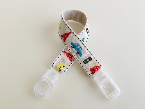 帽子ホルダー・おもちゃホルダー くるま柄 刺繍