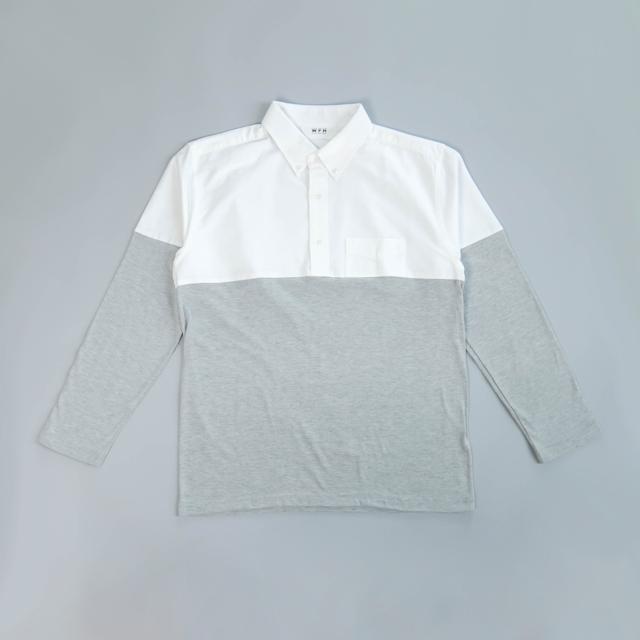 WFH Jammies White Shirt x Gray Long T-shirt (Top Only)