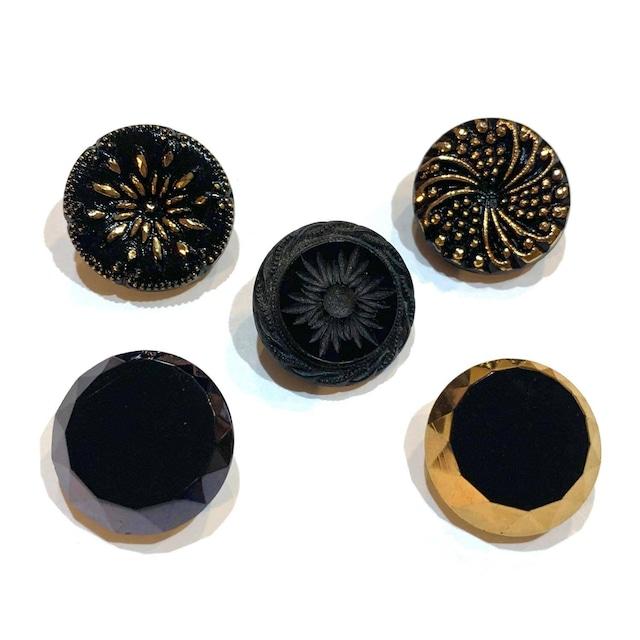チェコガラス黒ボタンパック(2p)