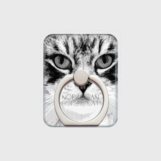 ノルウェージャンフォレストキャット おしゃれな猫スマホリング【IMPACT -shirokuro- 】