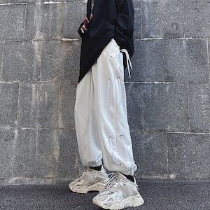 【ボトムス】ファッションストリート系紐付きカジュアル無地パンツ42909134