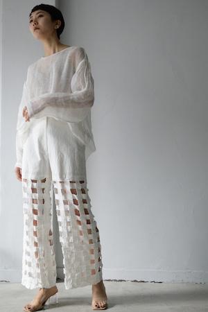ERiKOKATORi / Tape embroidery pants (white)