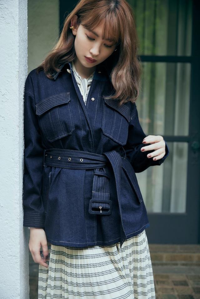 Belted Denim Long Jacket