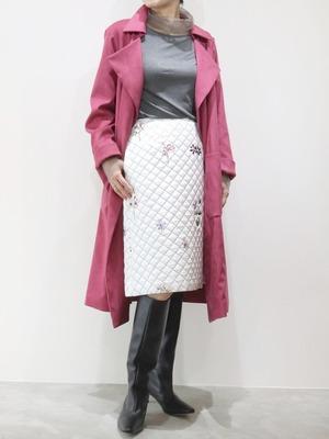キルティングフラワー刺繍スカート
