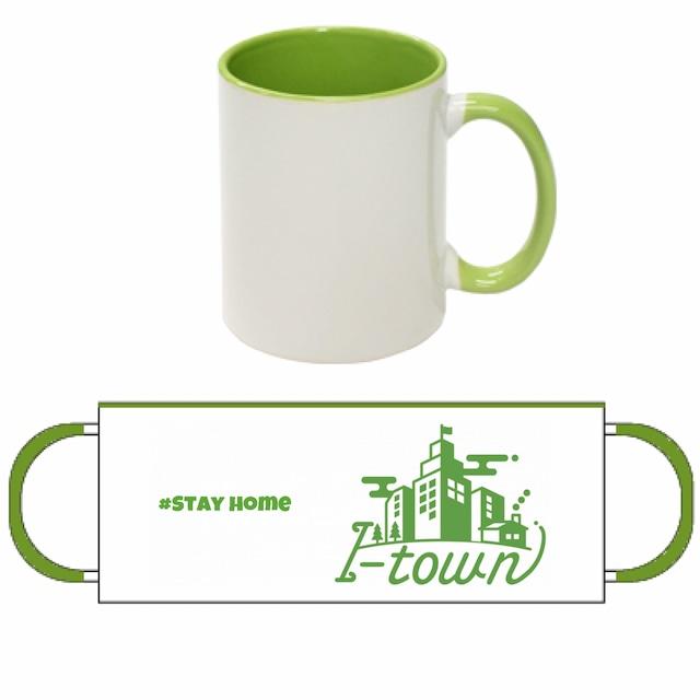 I-town 2トーンマグカップ #Stay home(ライトグリーン)