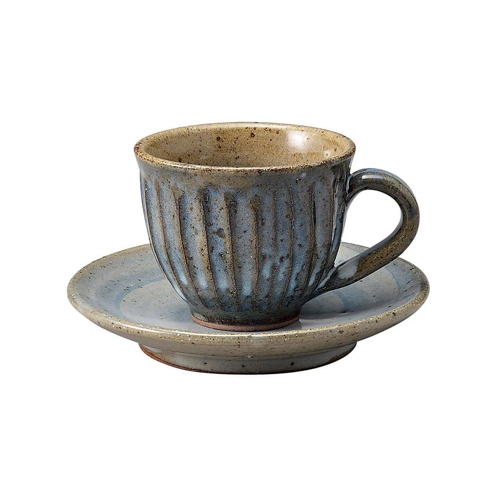 信楽焼 へちもん コーヒーカップ&ソーサー 約180ml 青萩彫 MR-3-3265