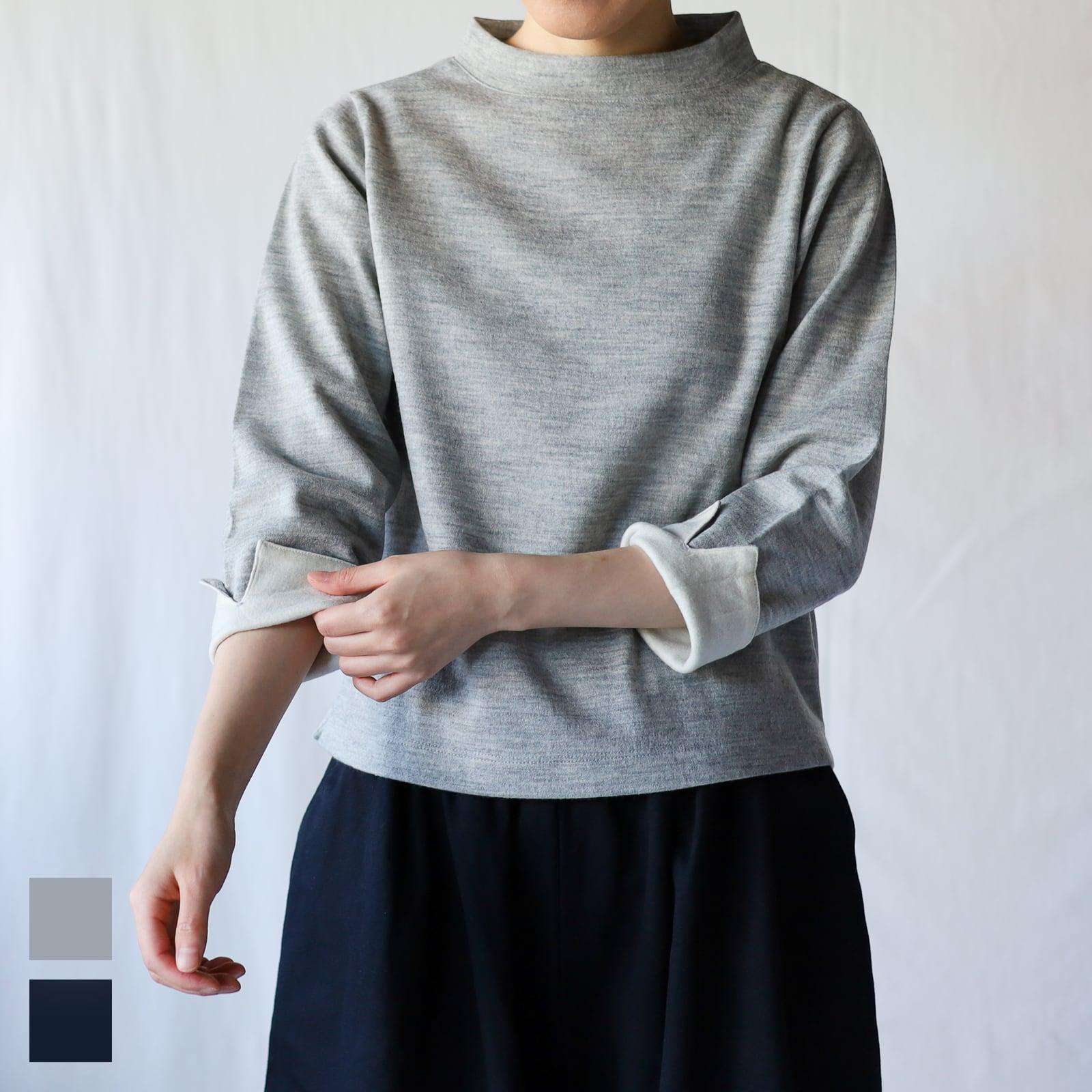 HAND ROOM WOMEN'S - ボトルネック ターンナップ カフスTシャツ - Grey / Navy