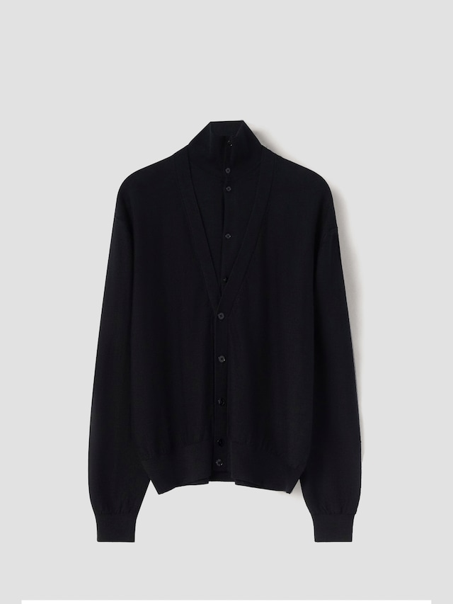 LEMAIRE DOUBLE LAYER CARDIGAN BLACK M 213 KN319 LK087