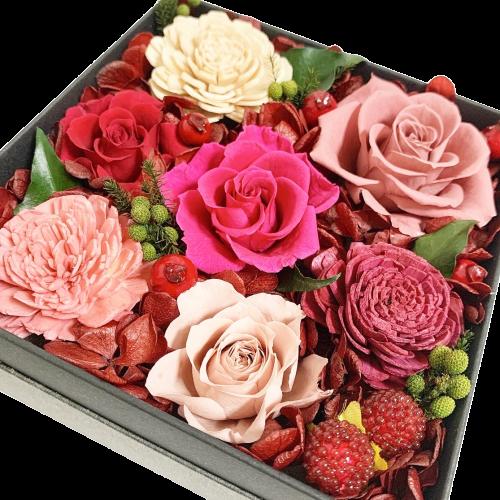 プリザーブドフラワー ボックスフラワー 【ベリーピンクBOX】フラワーボックス 赤 ピンク くすみピンク