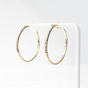 Rock Gold Hoop Pierced Earrings / L(E203-YG)