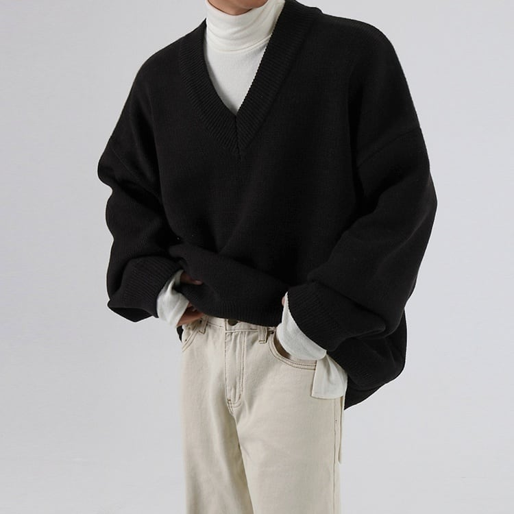 Loose V-neck thick sweater   b-508