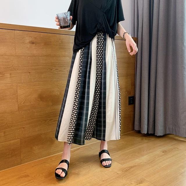 幾何学ストライプAラインスカート 【210335】