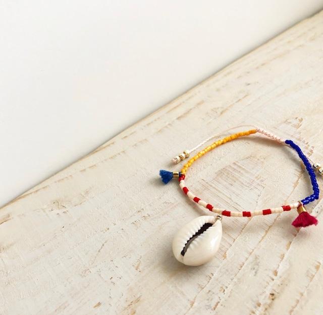 Shell beads bracelet / on the beach    OBH-42
