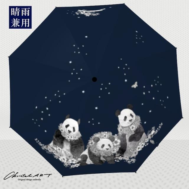 ◆受注生産◆「線画フラワーパンダ柄」晴雨兼用傘