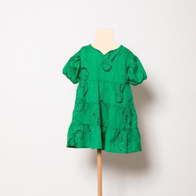 Last one L!folk made  face print dress (green print) M・Lサイズ F21SS-012 ※メール便1点までOK