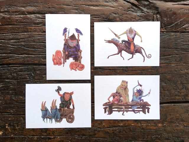 神話伝説ポストカード 4枚セット