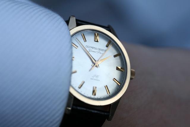 "【ORIENT】 1960's オリエント""オリンピア"" グランプリ 金張り カラトラバケース  / Vintagewatch / Olympia grand prix Orient"
